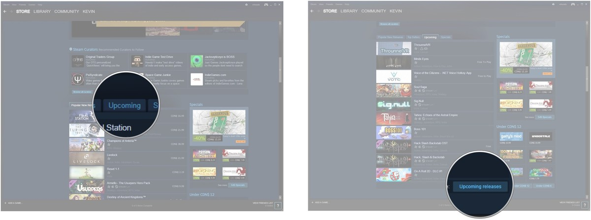 Click the Upcoming tab. Click Upcoming releases.