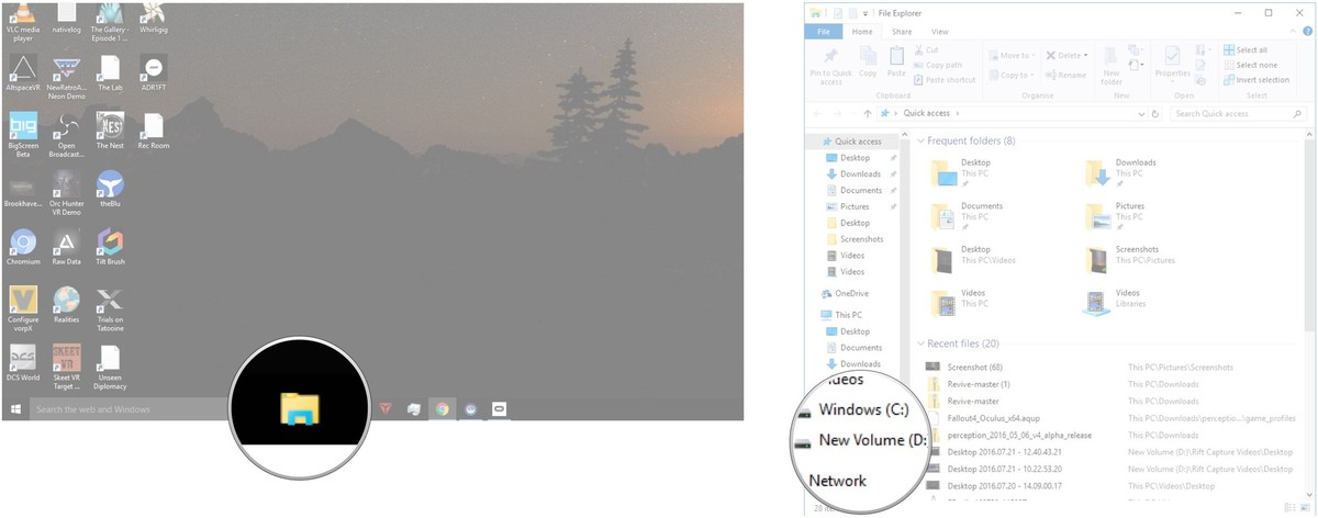 Click the File Explorer button in your taskbar. Click your alternate drive.