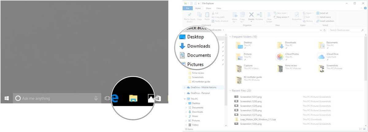 Launch File Explorer. Click the Downloads folder.