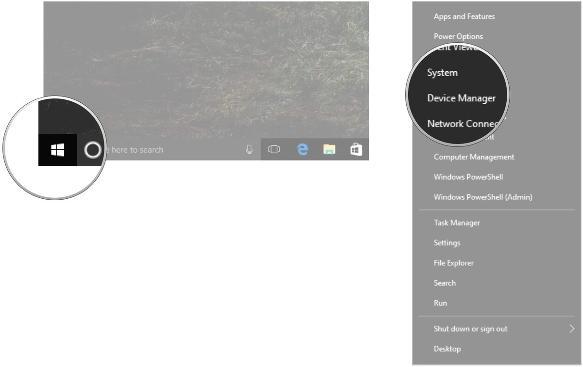 Right-click the Start button. Click Device Manager.