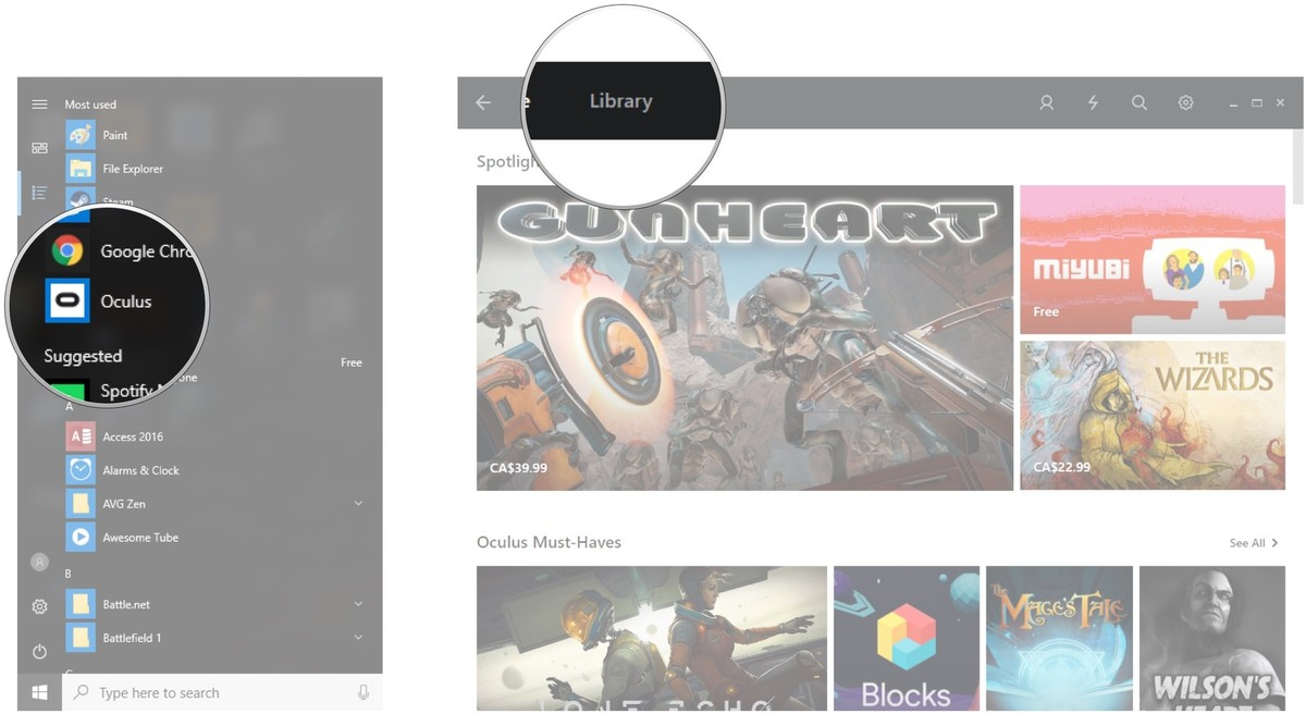 Launch the Oculus app. Click Library.