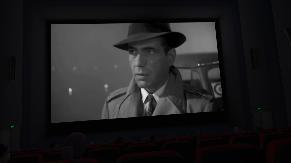 Yes, that's Bogart on the big screen.