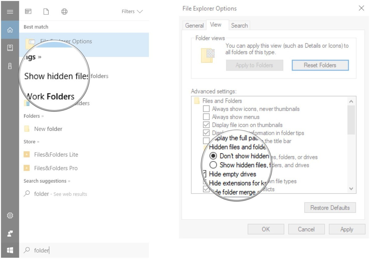 Click Show hidden files and folders. Click Show hidden files, folders, and drives.