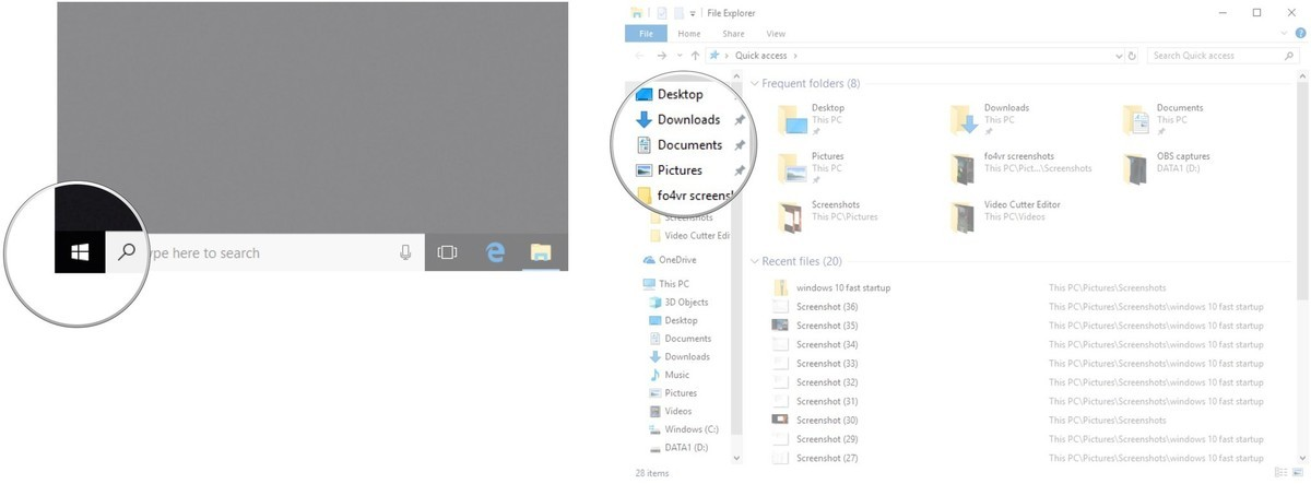 Launch File Explorer. Click Documents.