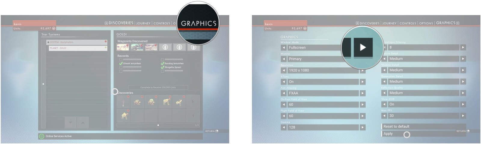 Click Graphics. Change the Window Mode to Borderless.