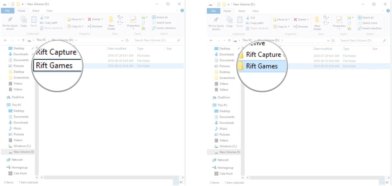 Type a name for the folder and hit Enter. Double-click Rift games to open it.