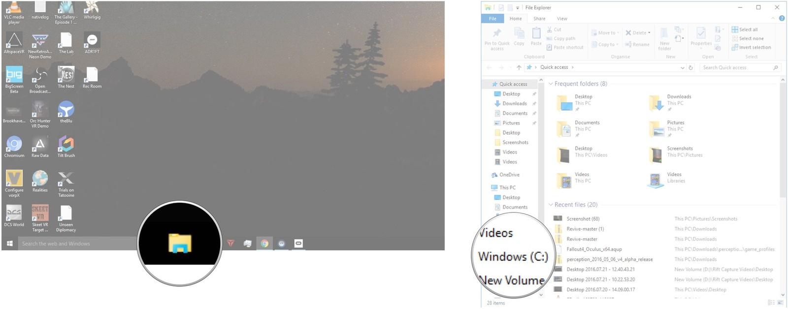 Click File Explorer in your taskbar. Click Windows (C:).