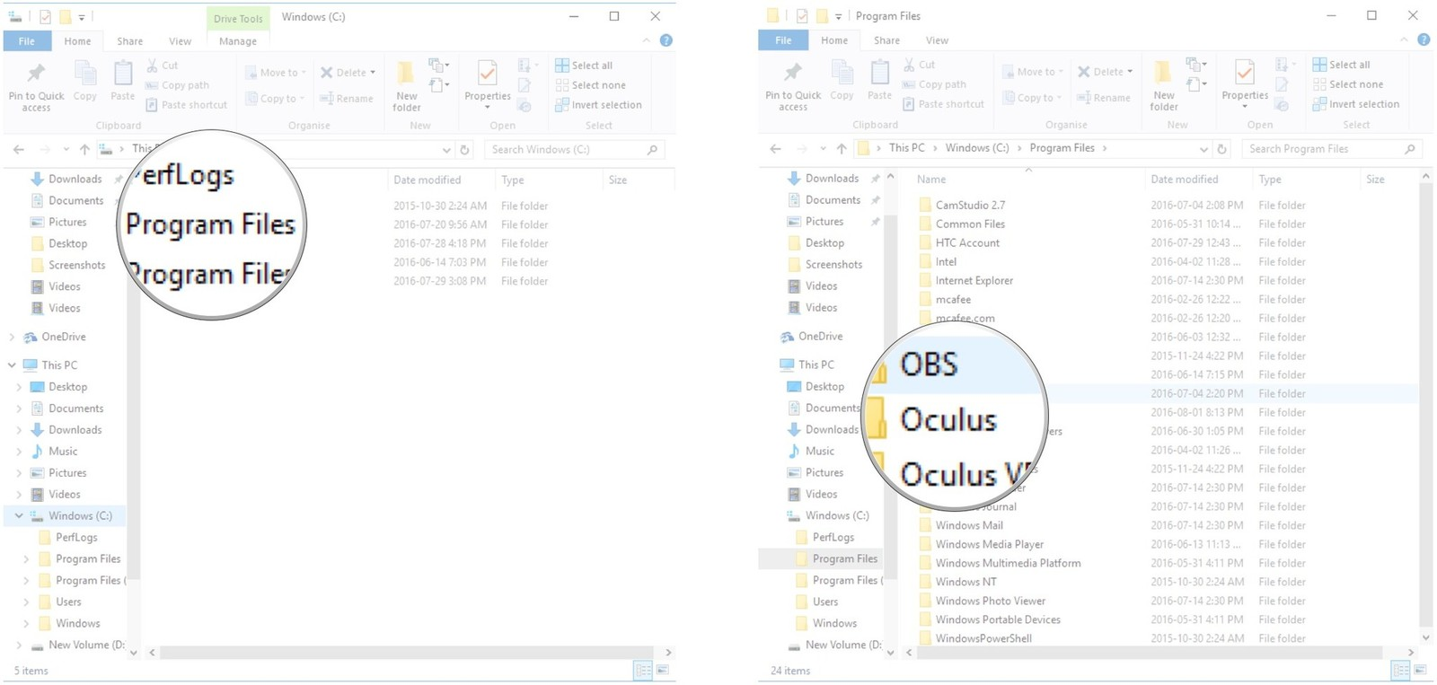 Double-click Program Files. Double-click Oculus.