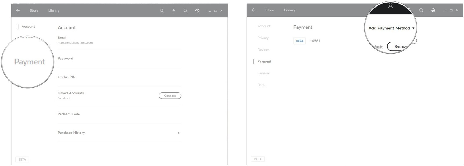Click Payment. Click Add Payment Method.