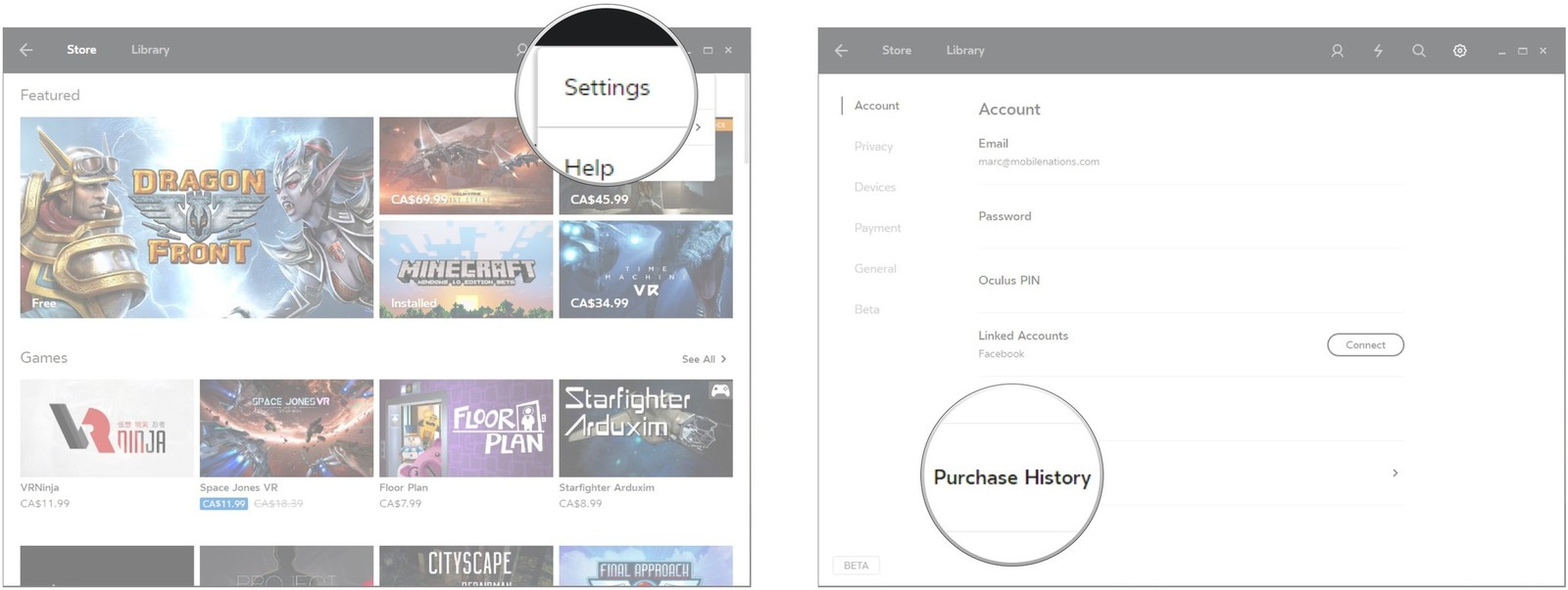 Click Settings. Click Purchase History.