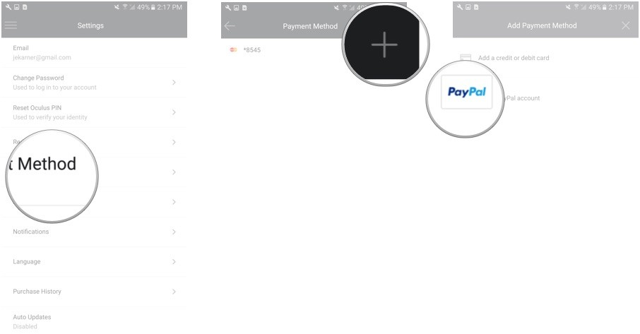 Tap payment method. Tap the add button. Tap Add a PayPal account.
