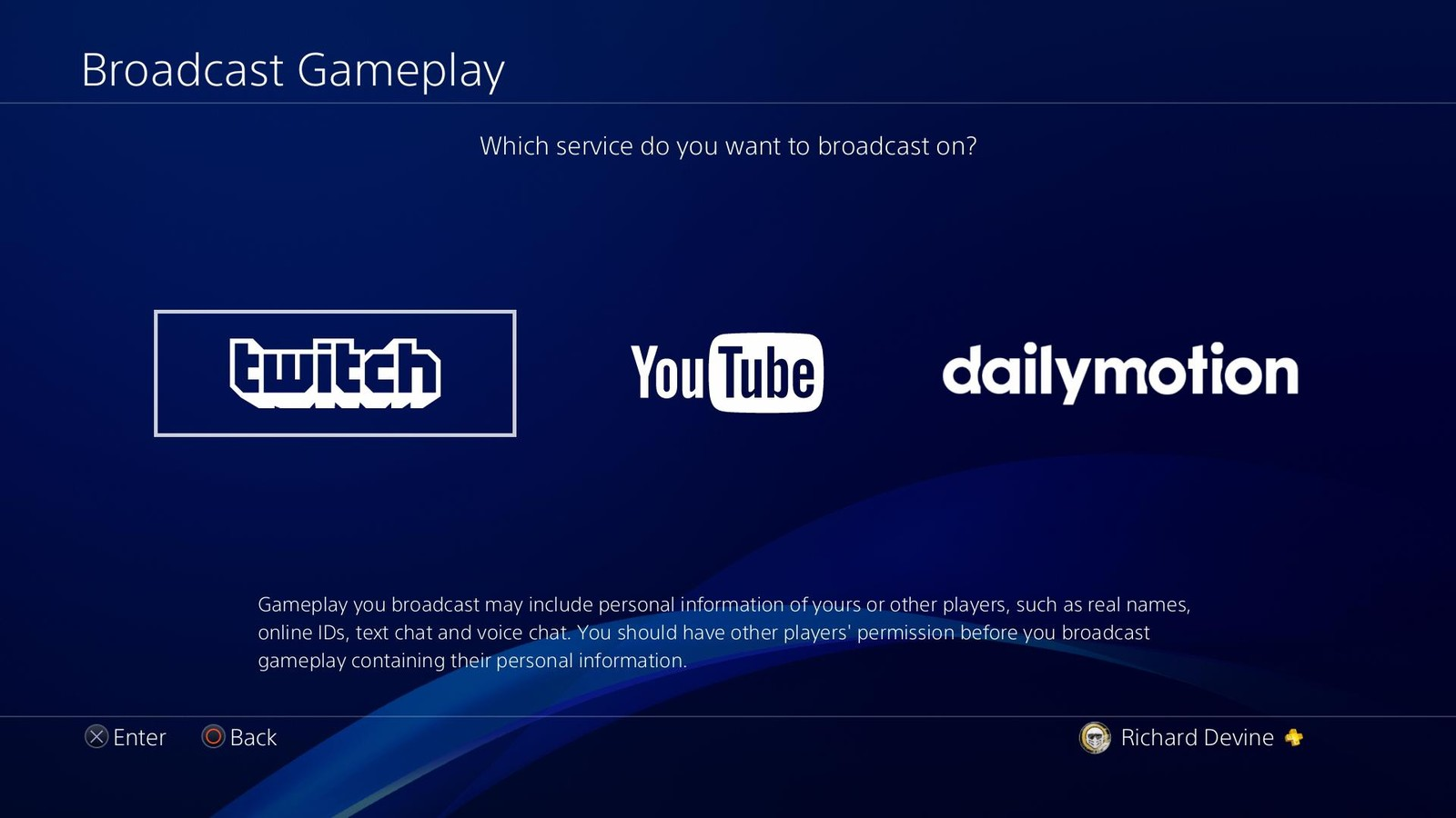 PS4 Twitch streaming