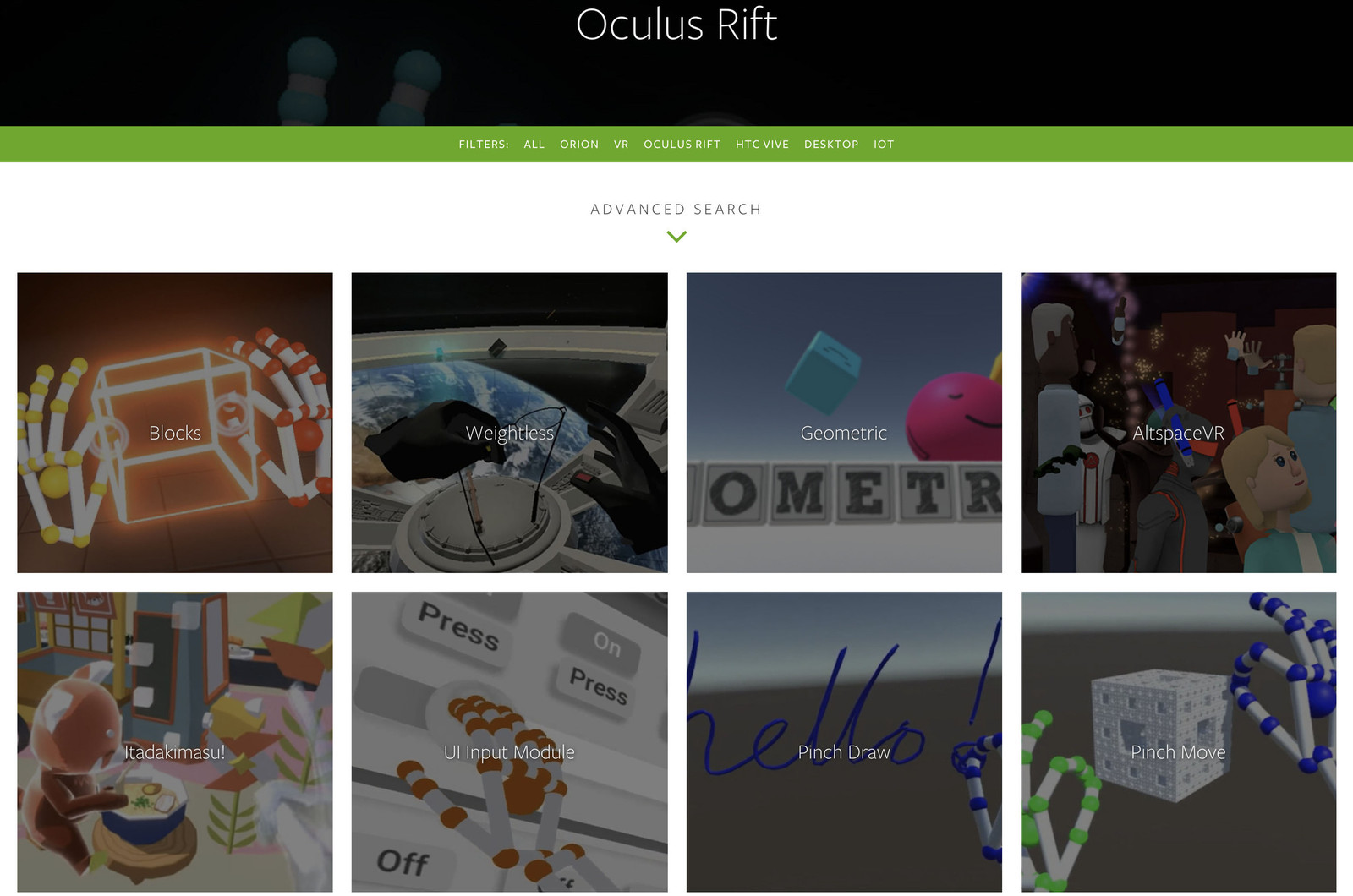 A few of the many Leap Motion apps.