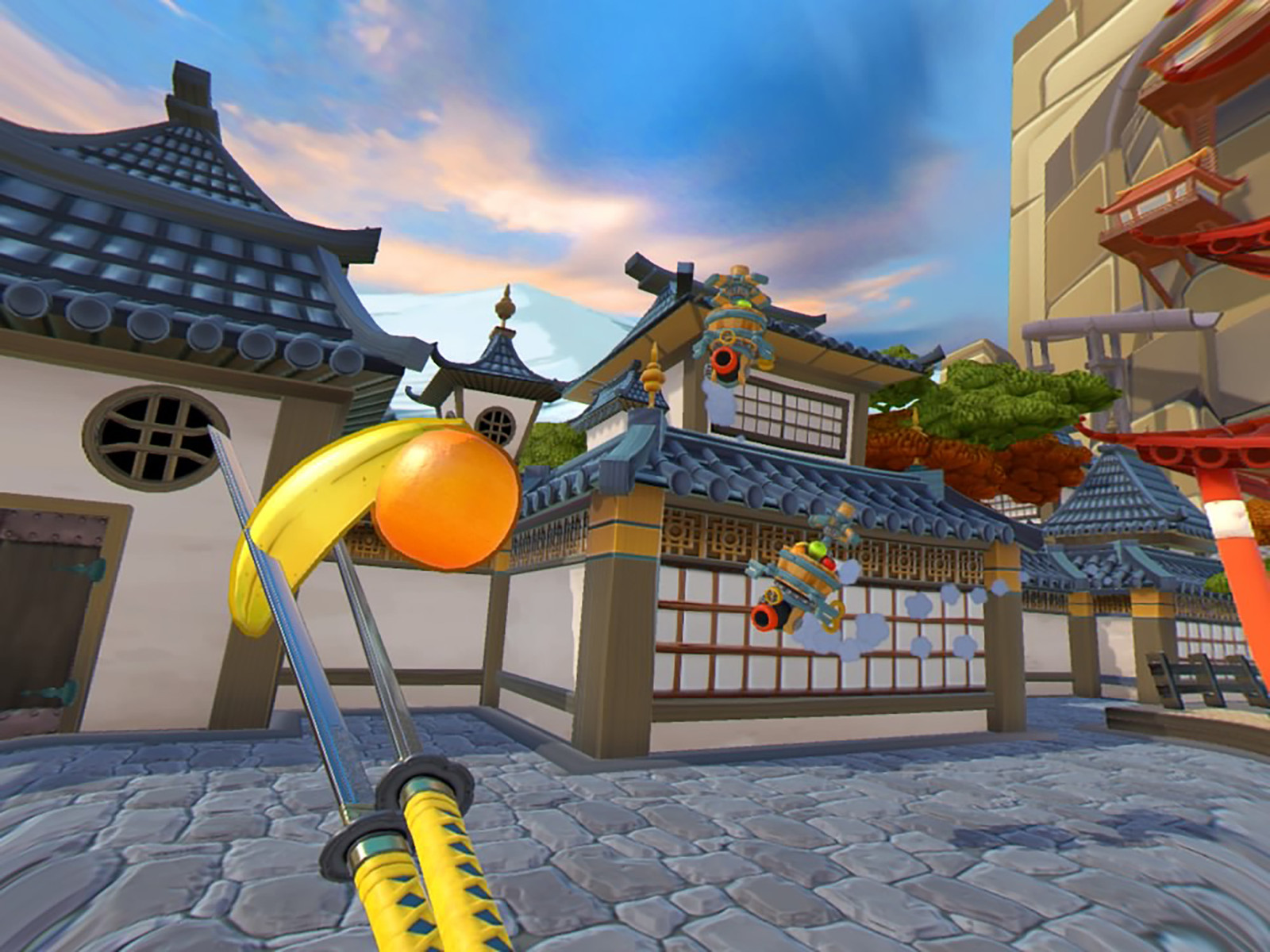 Shoot the fruit - This Is Arguably The Most Difficult Way To Play Fruit Ninja Vr Automated Flying Fruit Launchers Hover Over The Courtyard And Shoot Bundles Of Fruit At You