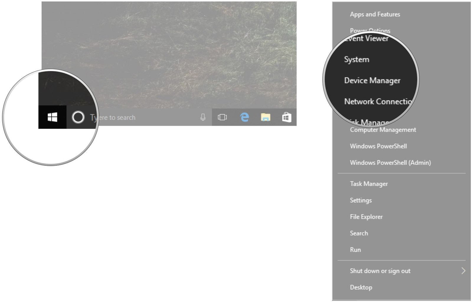 Right-click the Start menu. Click Device Manager.