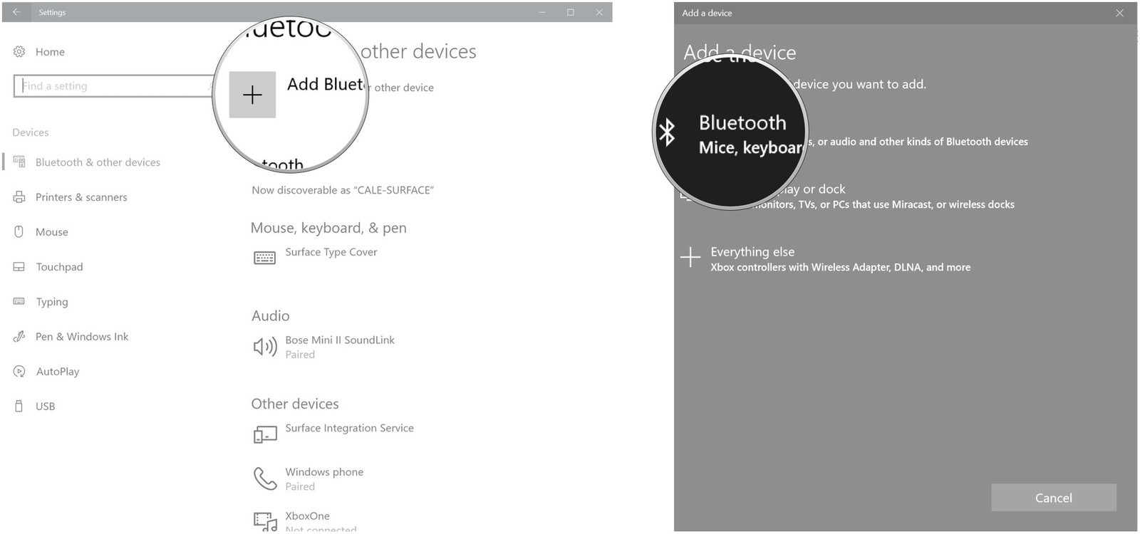 Click Add Bluetooth or other device. Click Bluetooth.